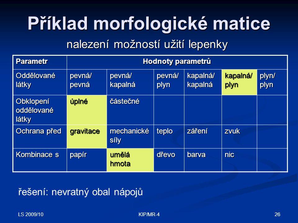 Příklad morfologické matice