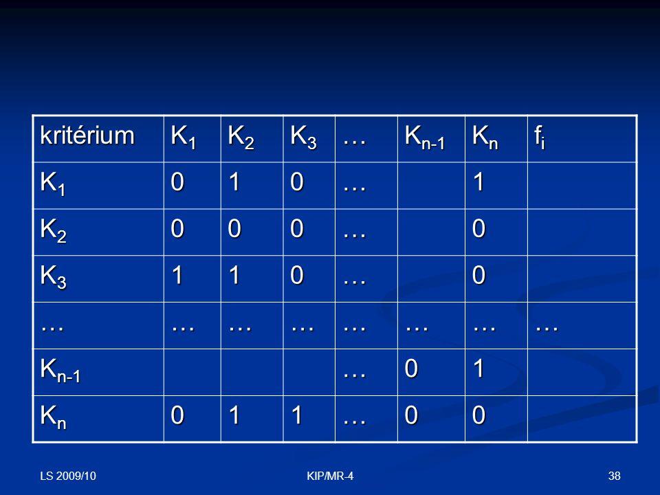 kritérium K1 K2 K3 … Kn-1 Kn fi 1 LS 2009/10 KIP/MR-4