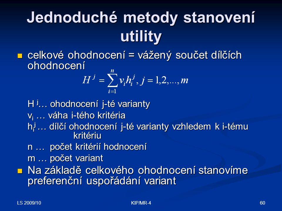 Jednoduché metody stanovení utility