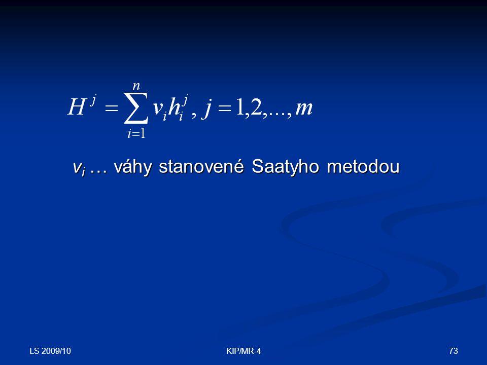 vi … váhy stanovené Saatyho metodou
