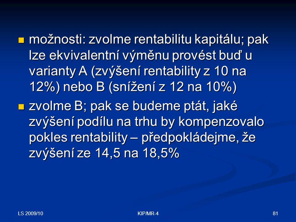 možnosti: zvolme rentabilitu kapitálu; pak lze ekvivalentní výměnu provést buď u varianty A (zvýšení rentability z 10 na 12%) nebo B (snížení z 12 na 10%)
