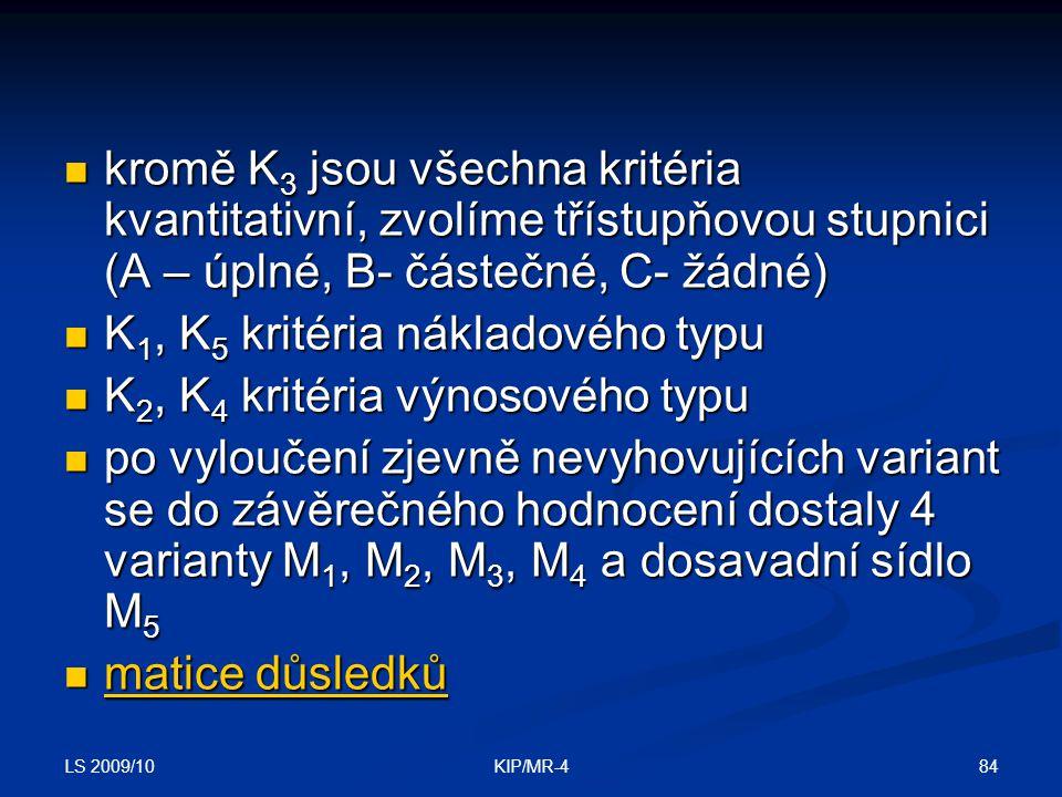K1, K5 kritéria nákladového typu K2, K4 kritéria výnosového typu