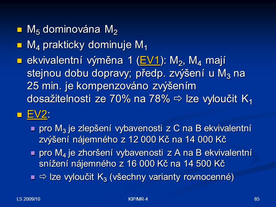 M5 dominována M2 M4 prakticky dominuje M1