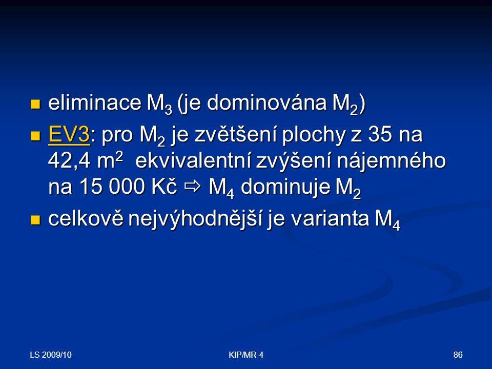 eliminace M3 (je dominována M2)