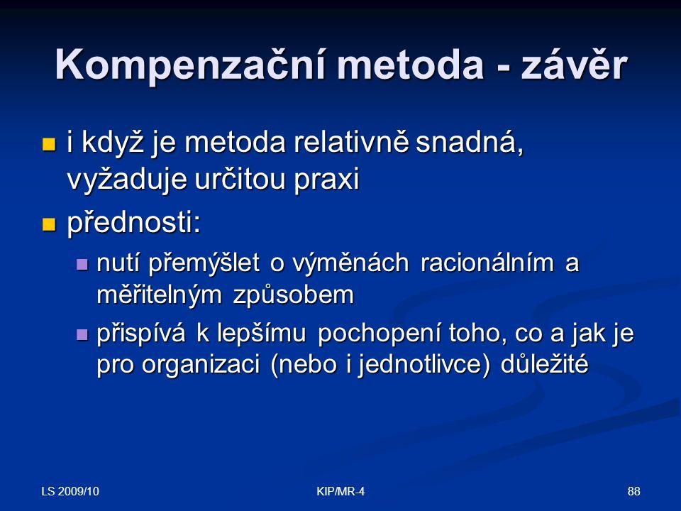 Kompenzační metoda - závěr