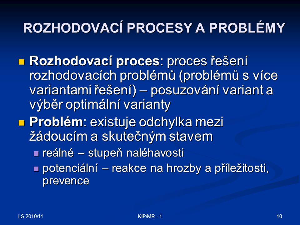 ROZHODOVACÍ PROCESY A PROBLÉMY