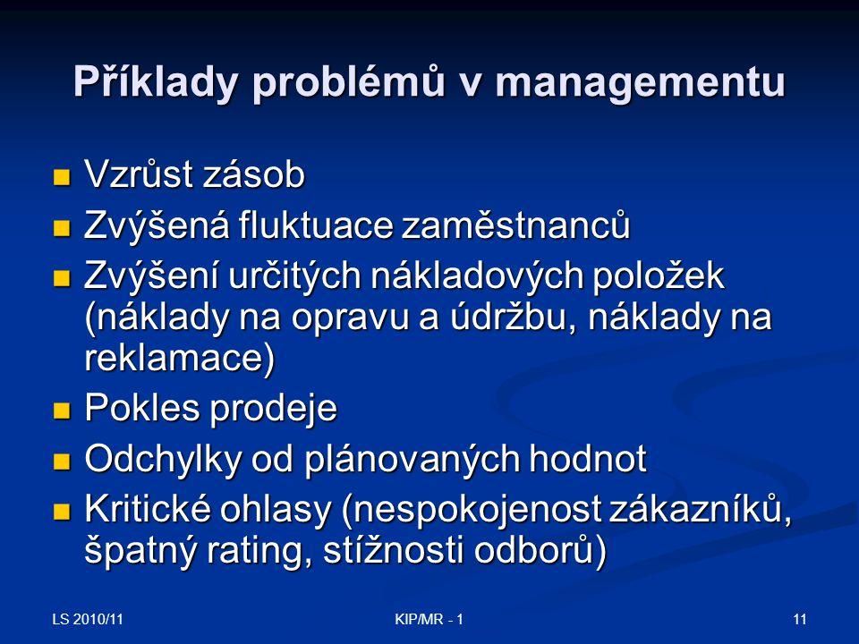 Příklady problémů v managementu
