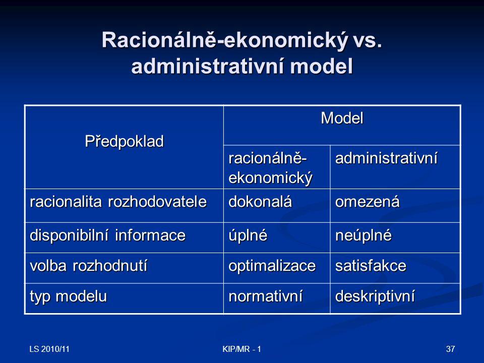 Racionálně-ekonomický vs. administrativní model