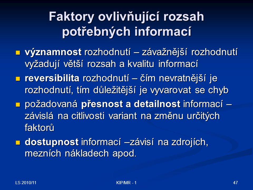 Faktory ovlivňující rozsah potřebných informací