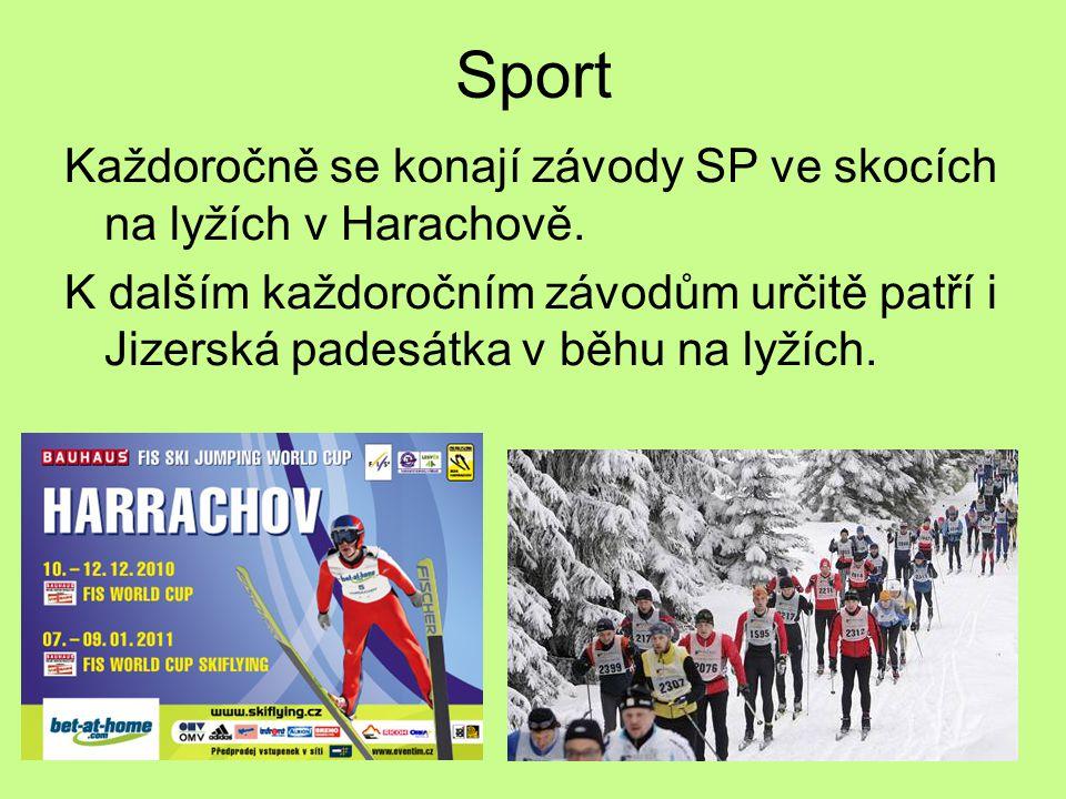 Sport Každoročně se konají závody SP ve skocích na lyžích v Harachově.