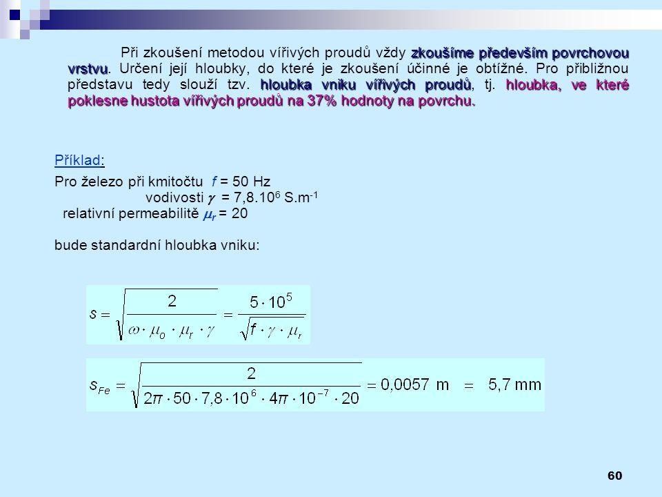 Pro železo při kmitočtu f = 50 Hz vodivosti g = 7,8.106 S.m-1