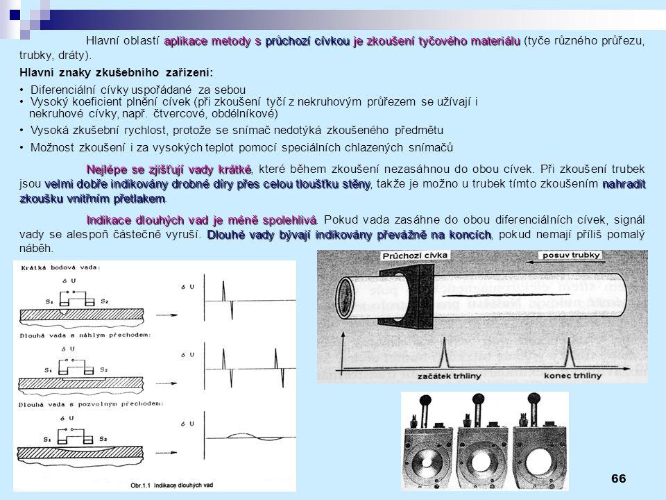 Hlavní oblastí aplikace metody s průchozí cívkou je zkoušení tyčového materiálu (tyče různého průřezu, trubky, dráty).