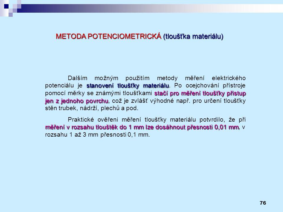 METODA POTENCIOMETRICKÁ (tloušťka materiálu)