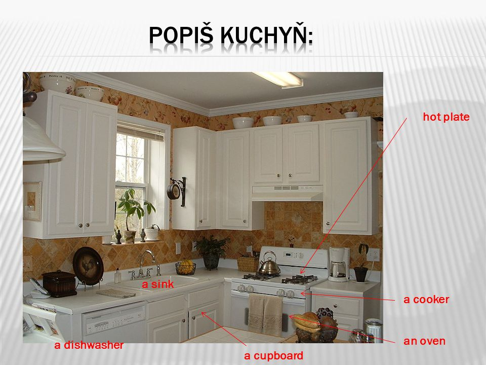 popiš kuchyň: hot plate a sink a cooker an oven a dishwasher