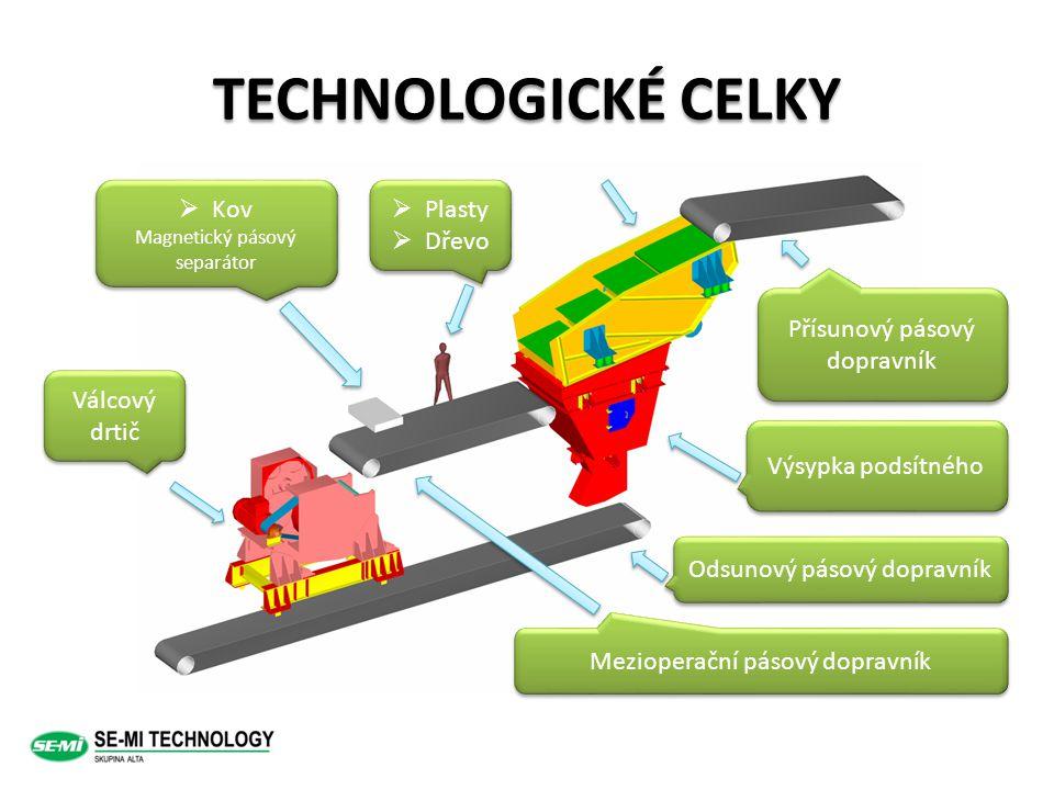 TECHNOLOGICKÉ CELKY Kov Plasty Dřevo Přísunový pásový dopravník