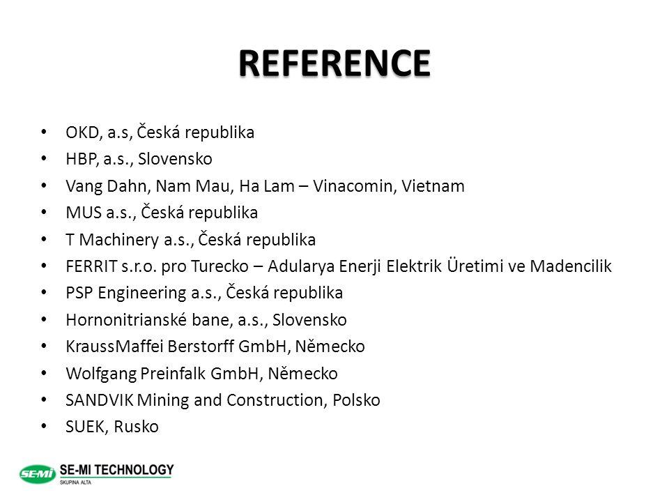 REFERENCE OKD, a.s, Česká republika HBP, a.s., Slovensko