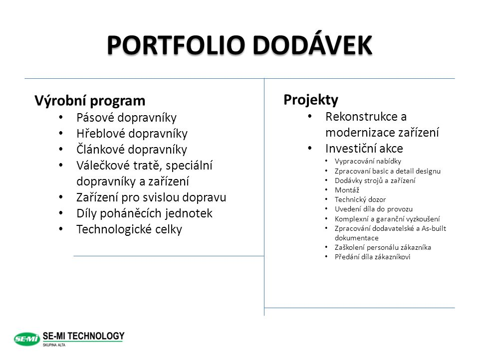 PORTFOLIO DODÁVEK Výrobní program Projekty Pásové dopravníky