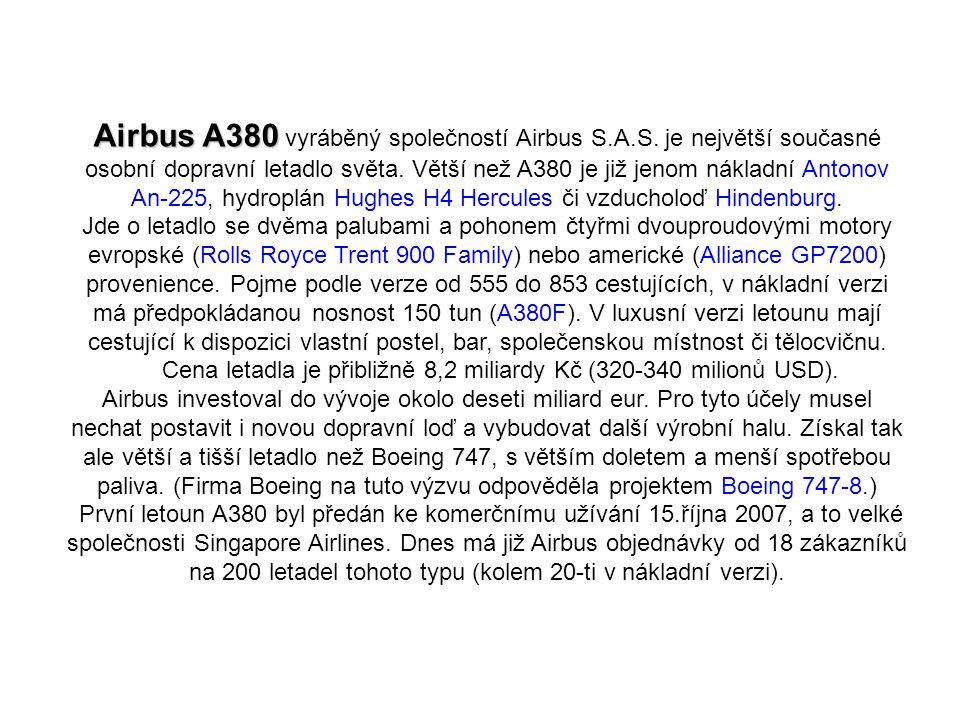 Airbus A380 vyráběný společností Airbus S. A. S