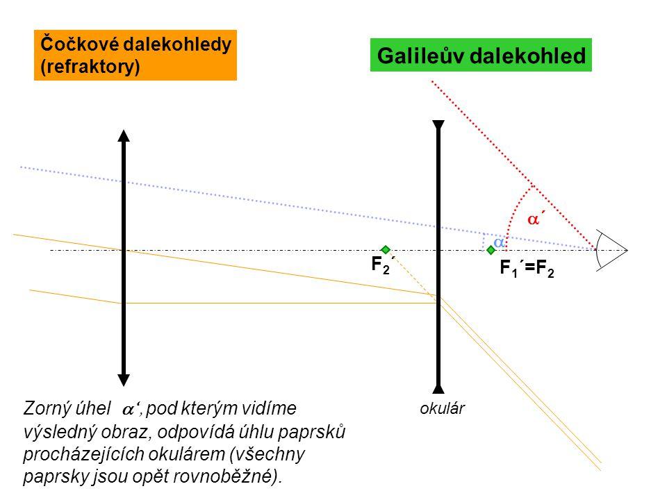 Galileův dalekohled Čočkové dalekohledy (refraktory) a´ a F2´ F1´=F2