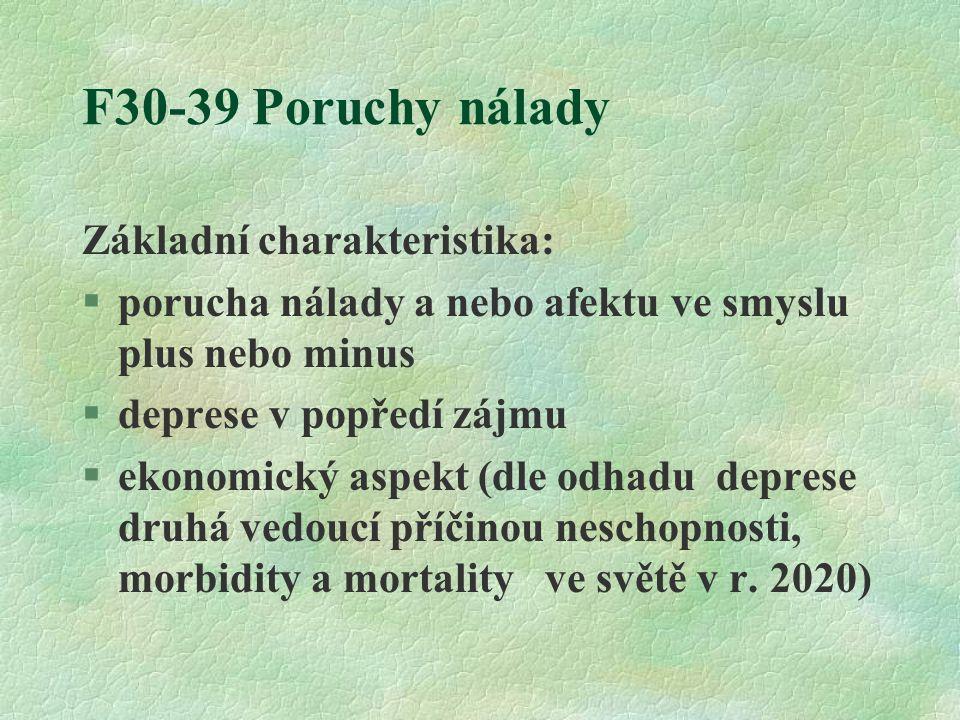 F30-39 Poruchy nálady Základní charakteristika: