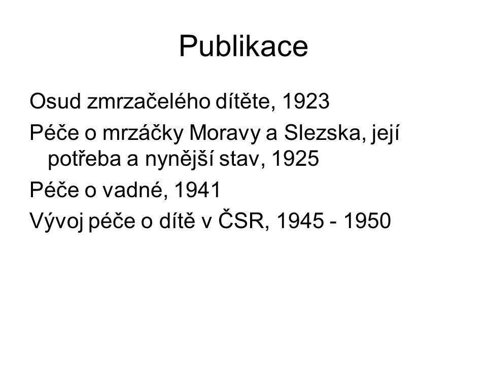 Publikace Osud zmrzačelého dítěte, 1923