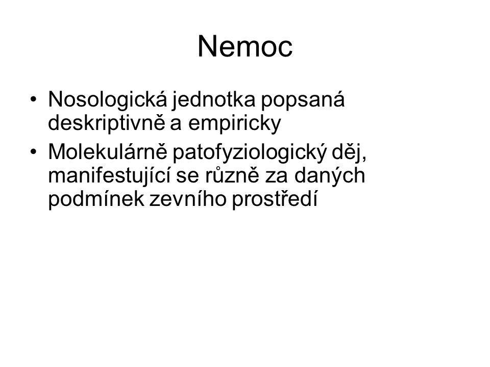 Nemoc Nosologická jednotka popsaná deskriptivně a empiricky