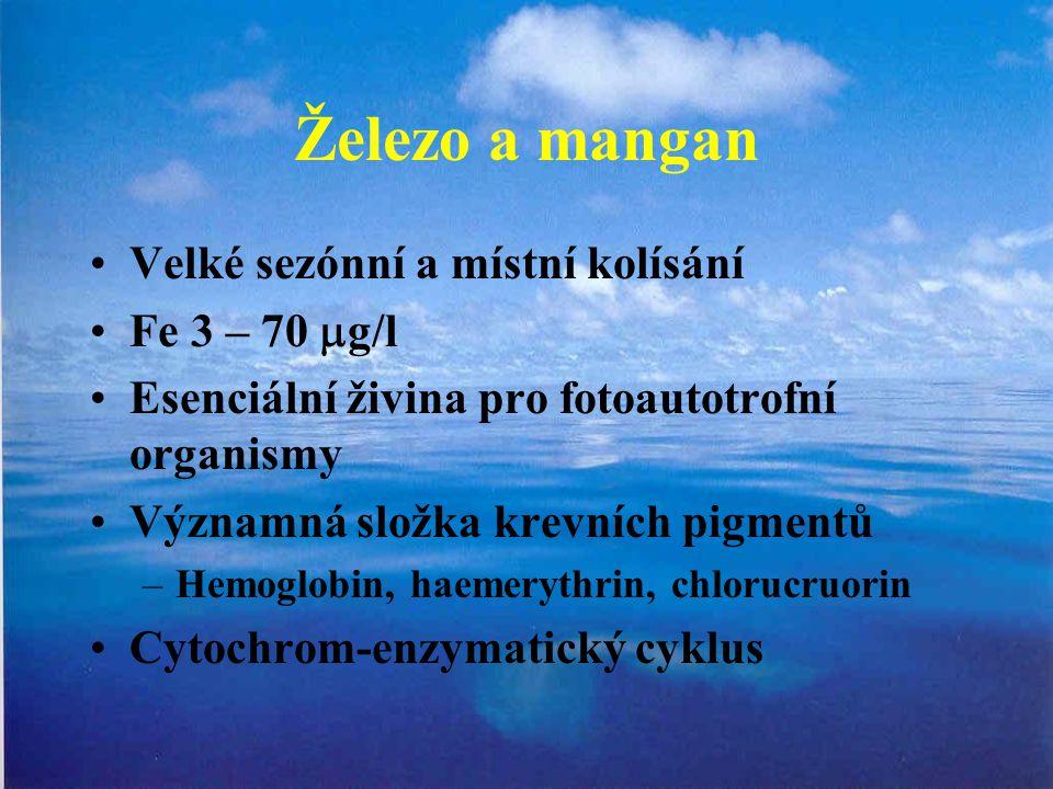 Železo a mangan Velké sezónní a místní kolísání Fe 3 – 70 mg/l