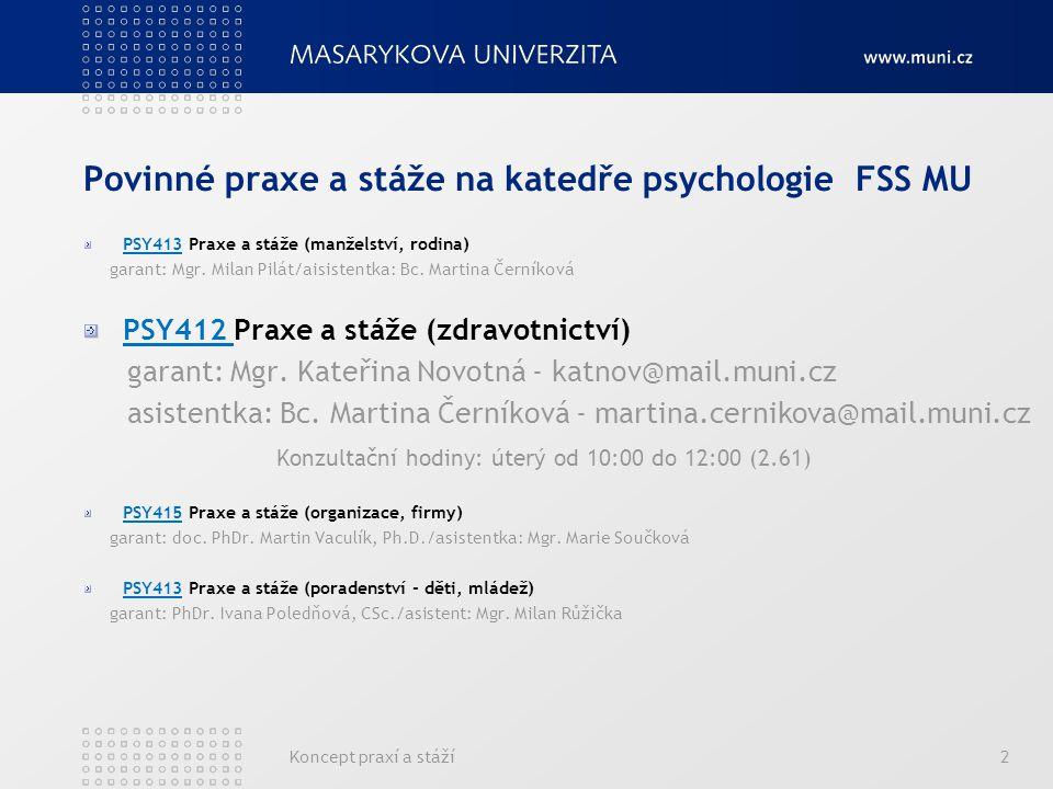 Povinné praxe a stáže na katedře psychologie FSS MU