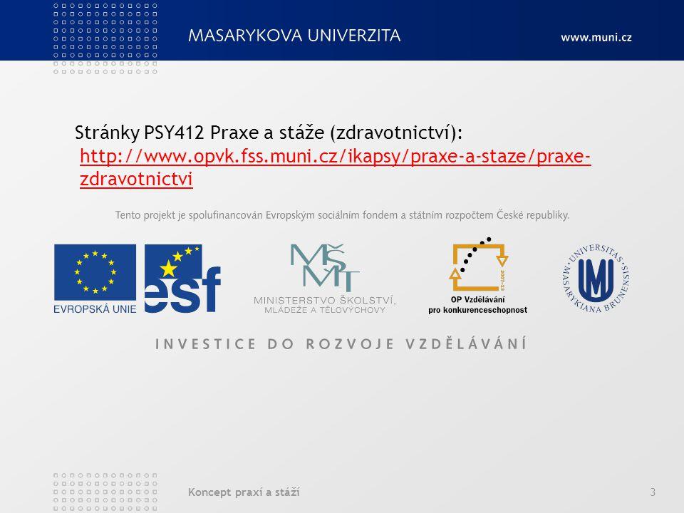 Stránky PSY412 Praxe a stáže (zdravotnictví): http://www. opvk. fss