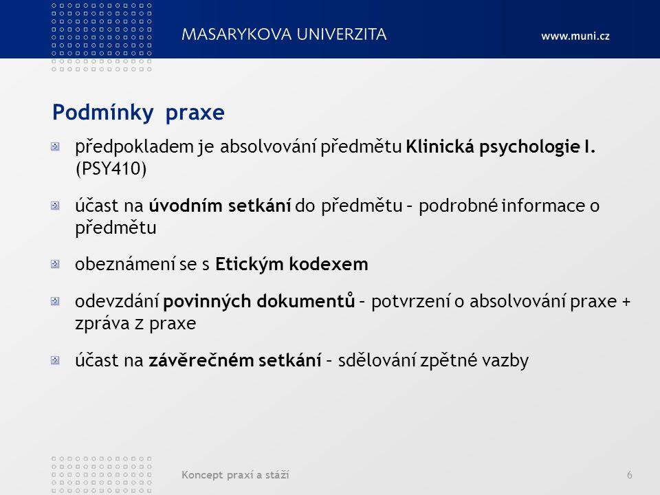 Podmínky praxe předpokladem je absolvování předmětu Klinická psychologie I. (PSY410)
