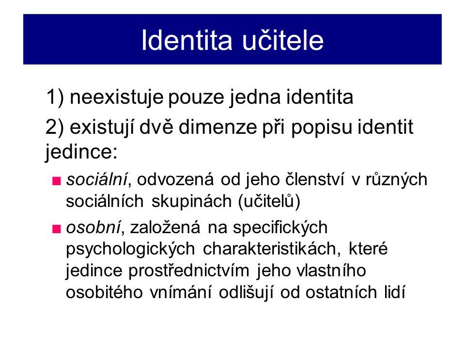 Identita učitele 1) neexistuje pouze jedna identita
