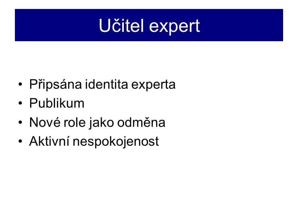 Učitel expert Připsána identita experta Publikum Nové role jako odměna