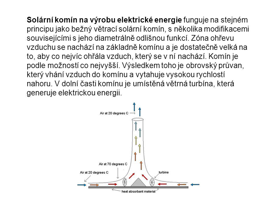 Solární komín na výrobu elektrické energie funguje na stejném principu jako bežný větrací solární komín, s několika modifikacemi souvisejícími s jeho diametrálně odlišnou funkcí.
