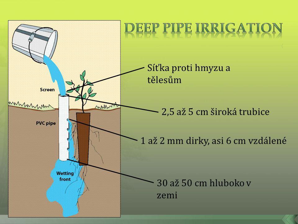 Deep pipe irrigation Síťka proti hmyzu a tělesům