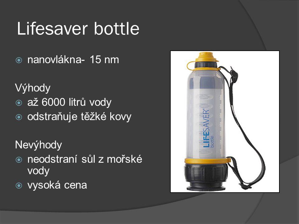 Lifesaver bottle nanovlákna- 15 nm Výhody až 6000 litrů vody