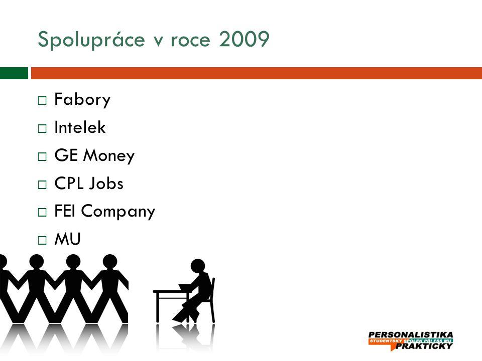 Spolupráce v roce 2009 Fabory Intelek GE Money CPL Jobs FEI Company MU