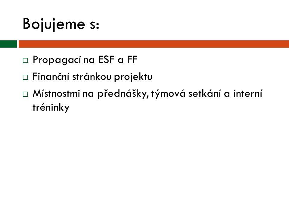 Bojujeme s: Propagací na ESF a FF Finanční stránkou projektu