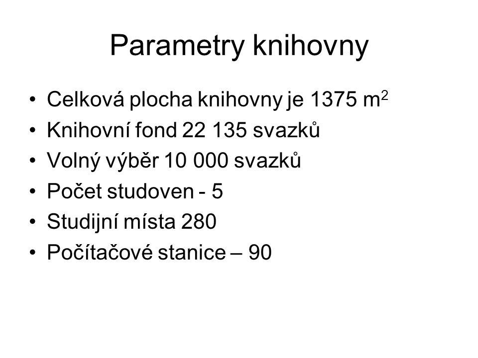Parametry knihovny Celková plocha knihovny je 1375 m2