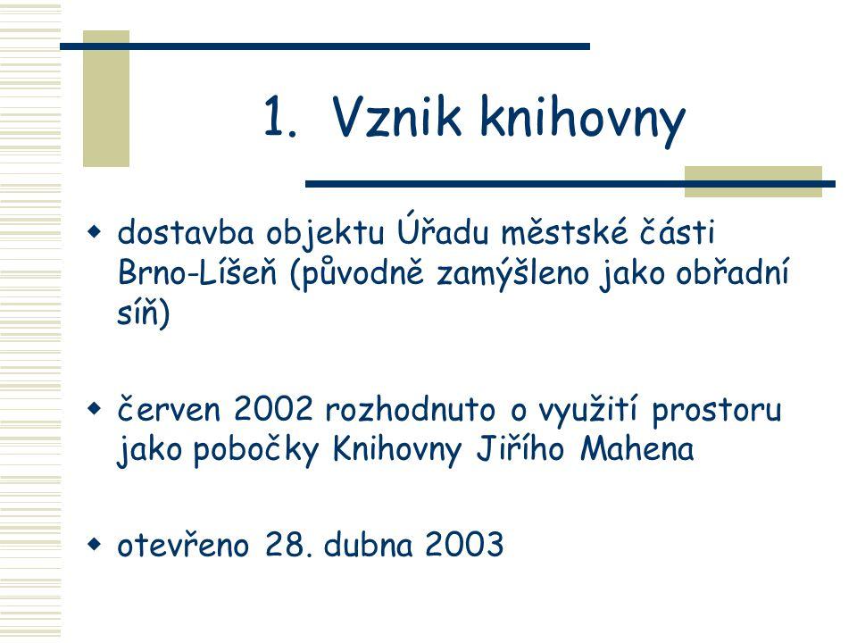 1. Vznik knihovny dostavba objektu Úřadu městské části Brno-Líšeň (původně zamýšleno jako obřadní síň)