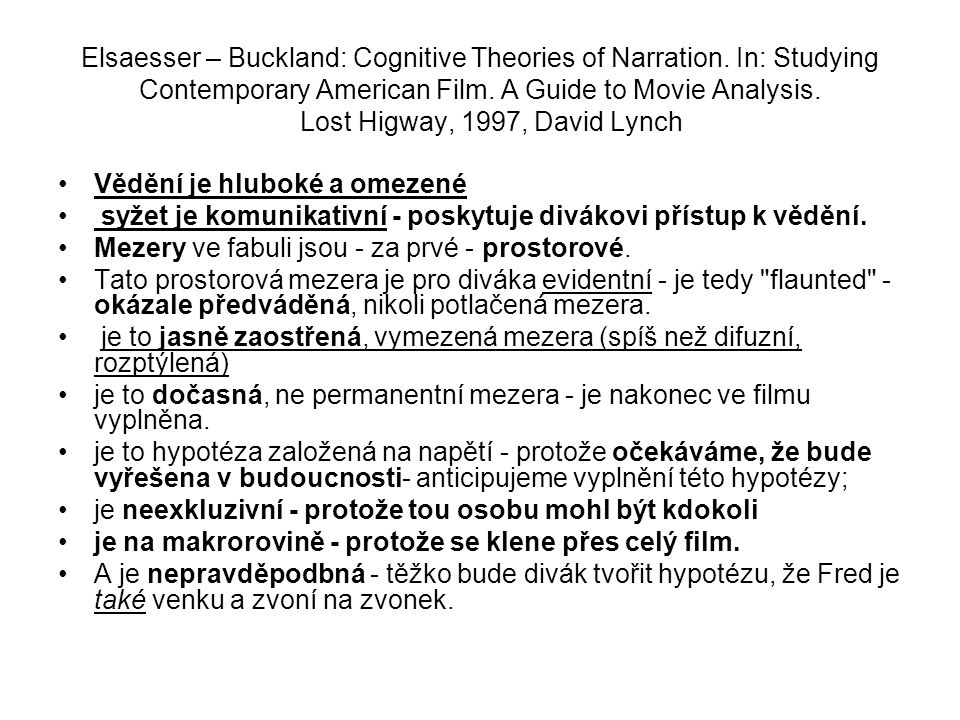 Elsaesser – Buckland: Cognitive Theories of Narration