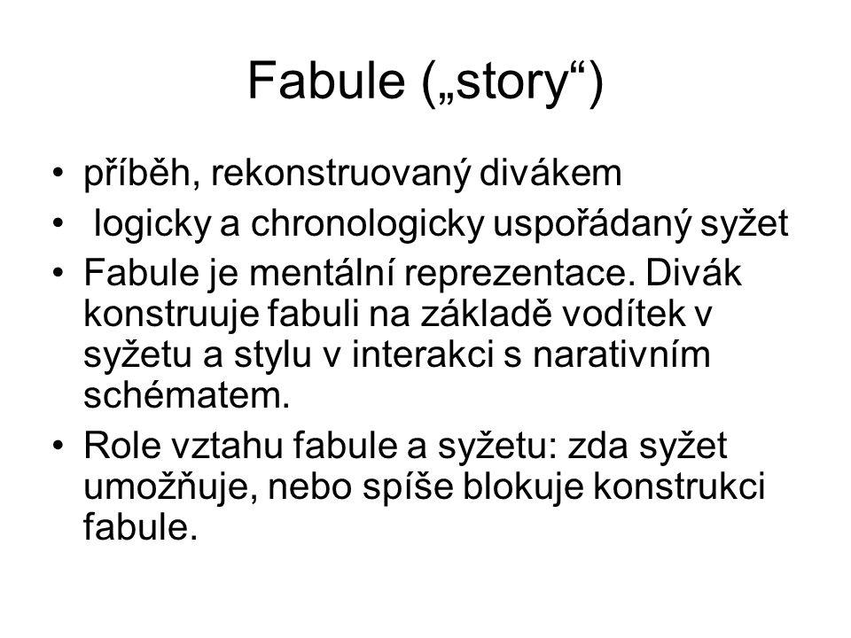 """Fabule (""""story ) příběh, rekonstruovaný divákem"""