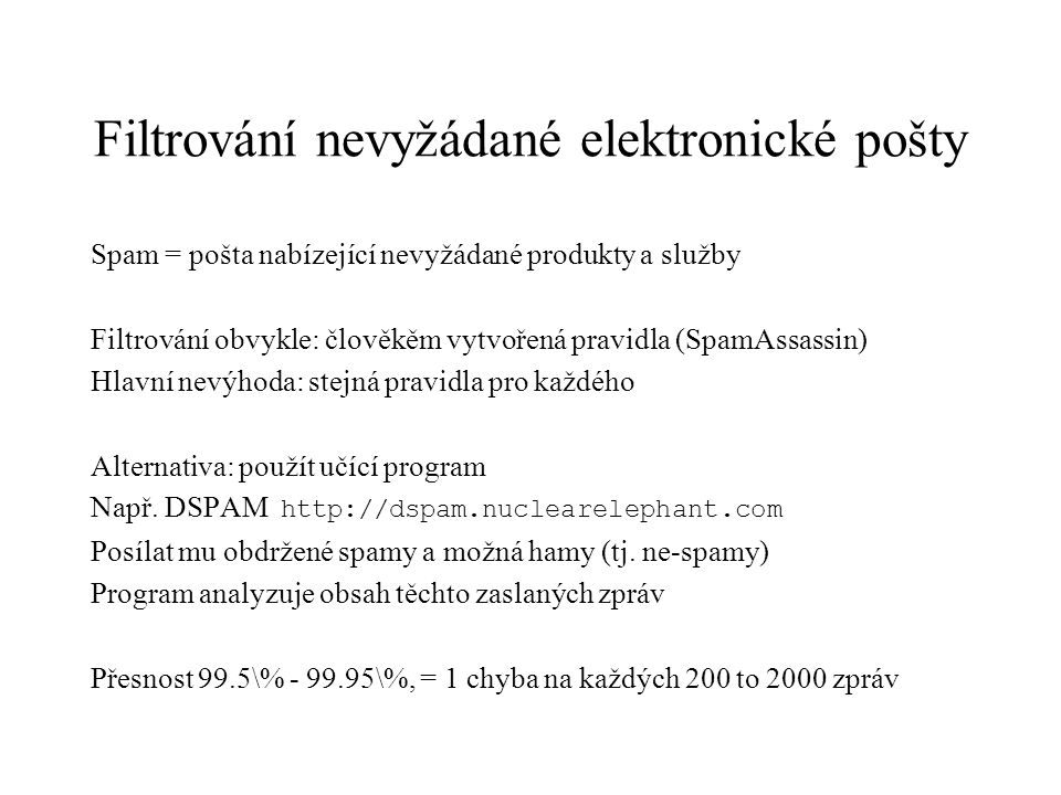 Filtrování nevyžádané elektronické pošty