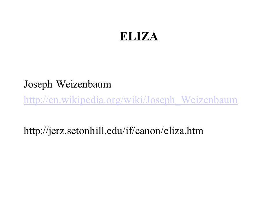 ELIZA Joseph Weizenbaum http://en.wikipedia.org/wiki/Joseph_Weizenbaum