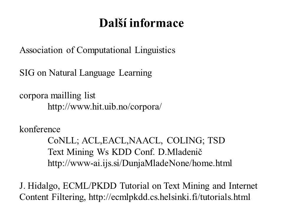Další informace Association of Computational Linguistics