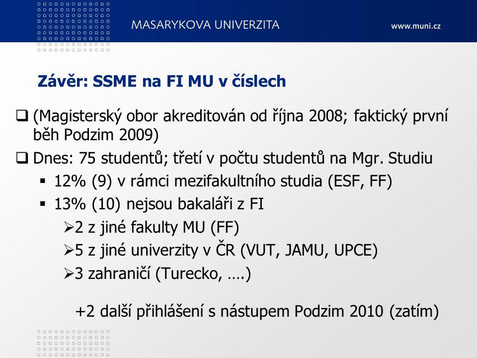 Závěr: SSME na FI MU v číslech