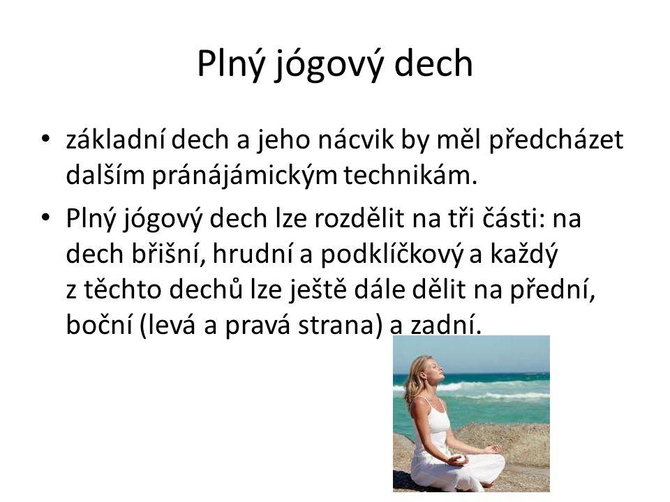 Plný jógový dech základní dech a jeho nácvik by měl předcházet dalším pránájámickým technikám.