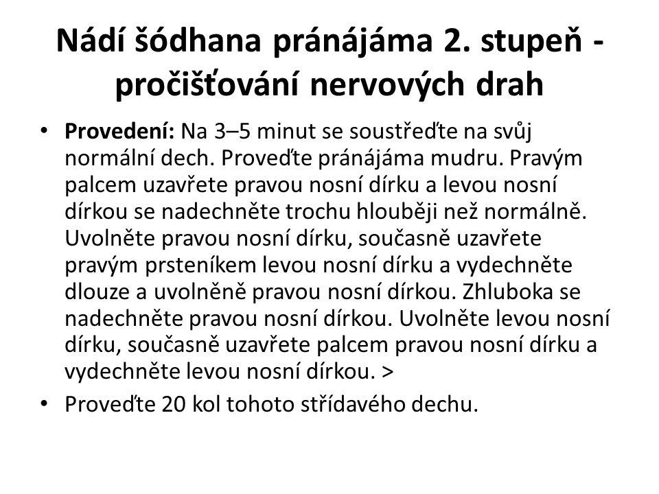 Nádí šódhana pránájáma 2. stupeň - pročišťování nervových drah