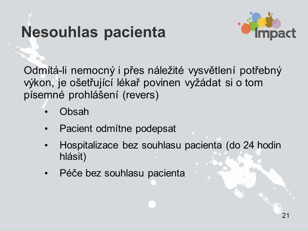 2121 Nesouhlas pacienta.