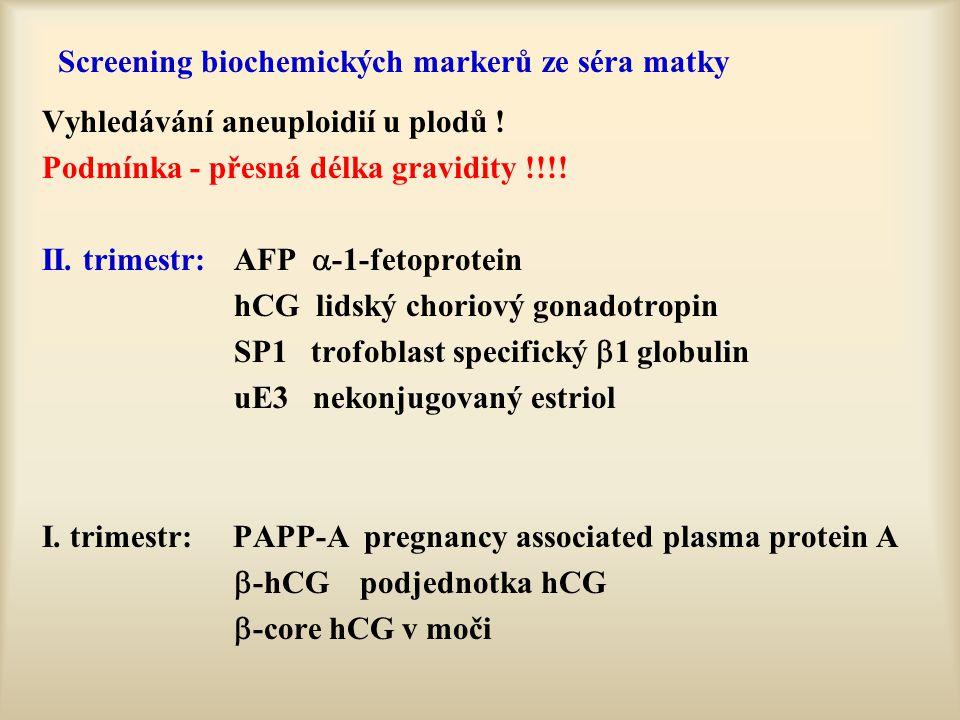 Screening biochemických markerů ze séra matky