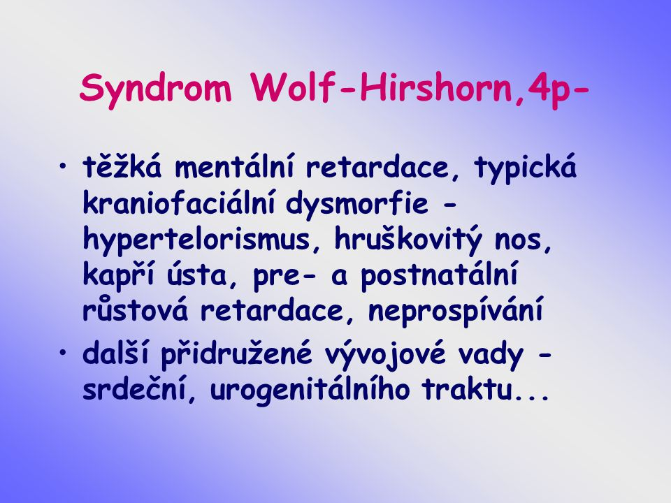 Syndrom Wolf-Hirshorn,4p-